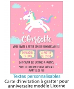 invitation anniversaire. carte invitation gratter. invitation original. invitation fete enfant. invitation licorne