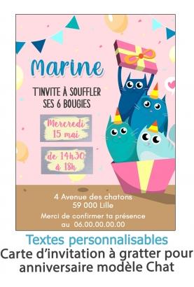 invitation anniversaire. carte invitation gratter. invitation original. invitation feavane. invitation anniversaire chat. carte