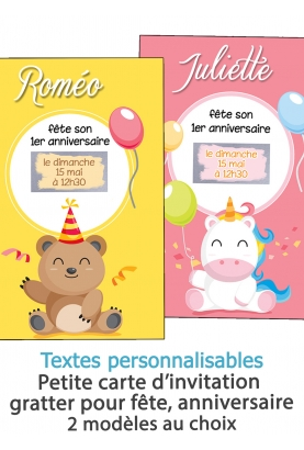 invitation anniversaire. carte invitation gratter. invitation original. invitation feavane. invitation anniversaire enfant bebe.