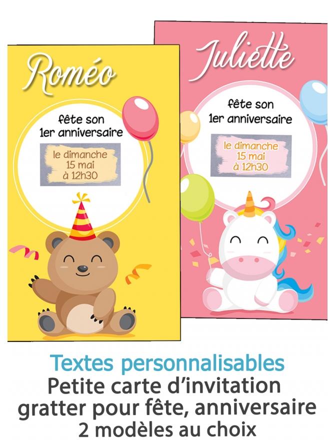 invitation anniversaire. carte invitation gratter. invitation original. invitation feavane. invitation anniversaire enfant bebe.