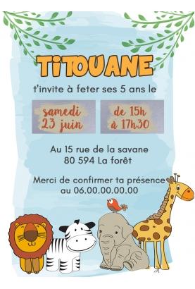 carte savane enfant. carte invitation enfant. carte enfant anniversaire. carte invitation enfant original