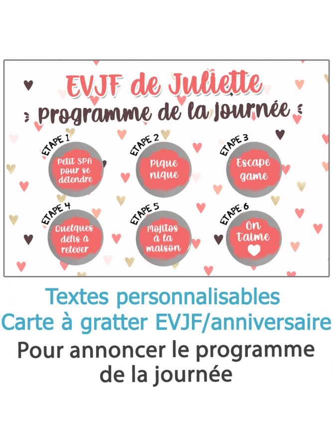 carte EVJF. carte anniversaire originale. carte programme EVJF. animation EVJF