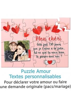 Puzzle amour avec photo pour demande en mariage ou pacs. demande mariage originale. demande pacs originale. declarer amour