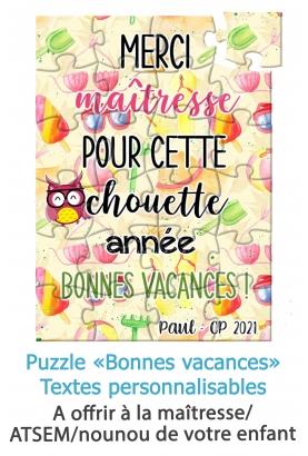 """Puzzle """"Bonnes vacances"""" pour maîtresse, maître, ATSEM, nounou etc. puzzle maitresse. merci maitresse"""