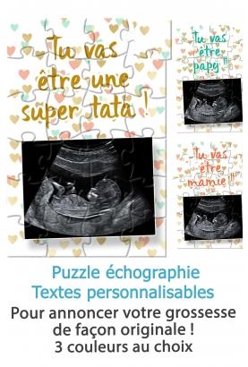 Puzzle annonce de grossesse avec votre échographie. annonce grossesse originale. annonce grossesse sympa.
