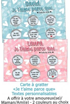 Carte à gratter saint valentin.  carte je t'aime. cadeau amoureux.