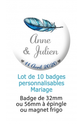 badges mariage plume. badges pacs. badges personnalisé mariage. badge decoration mariage.