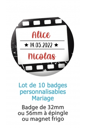 badges mariage cinéma. badge mariage personnalisé. badge cinéma. badge original mariage