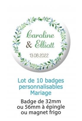 badges mariage fleur. badges mariage champêtre. badges pacs. badges personnalisé mariage