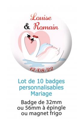 badges mariage cygne. badge mariage personnalisé. badge cinéma. badge original mariage. badge cygne. badge mariage cygne