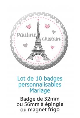 badge mariage paris. badges mariage tour eiffel. badges mariage personnalisé. badges pacs