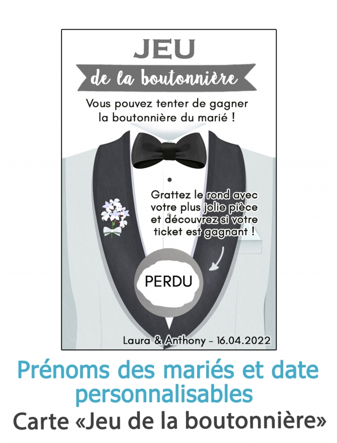 Jeu de la boutonnière. carte gratter mariage. jeu mariage. animation mariage originale. carte gratter jeu mariage
