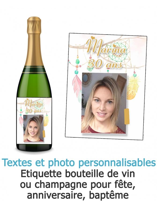 Etiquette bouteille de vin ou champagne pour fête, anniversaire, baptême avec photo personnalisable