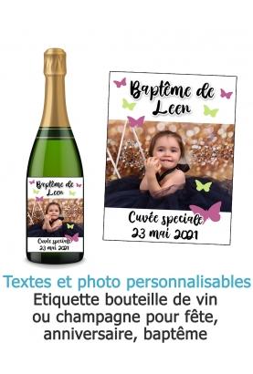 etiquette baptême. etiquette anniversaie. etiquette bouteille vin. etiquette bouteille champagne. bouteille champagne personnali