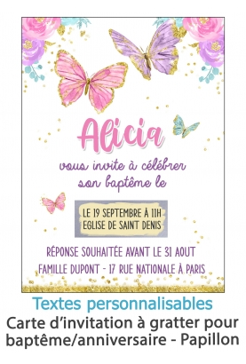 carte invitation. carte bapteme. carte anniversaire enfant. carte papillon. anniversaire papillon. carte invitation gratter