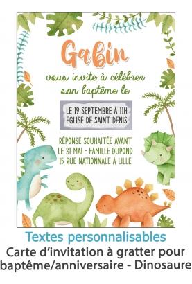 carte invitation. carte baptême. carte anniversaire enfant. carte dinosaure. anniversaire dinosaure. carte invitation gratter. i