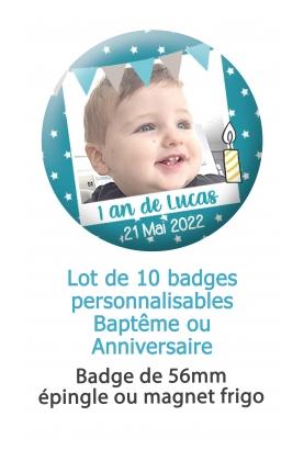 badges photo. badges bapteme garçon. badges anniversaire garçon. badges personnalisés. badge bébé. badge photo personnalisé