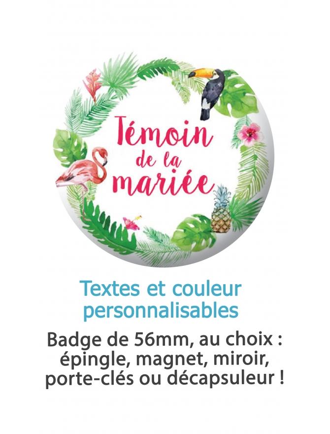 Badge personnalises mariage, EVJF, témoins. badges mariage. badges témoin mariée