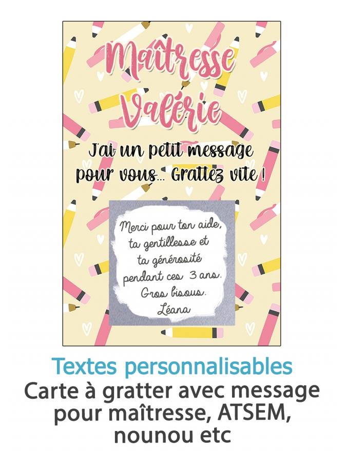 Carte à gratter Merci maîtresse personnalisable. carte maitresse. merci maitresse. merci nounou. cadeau original maitresse