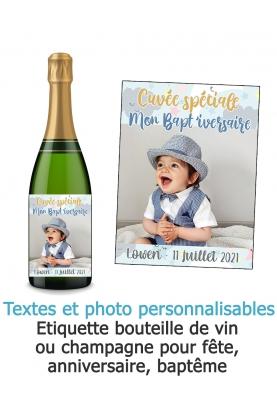 etiquette baptême. étiquette photo. etiquette anniversaire. etiquette bouteille vin. etiquette bouteille champagne. bouteille ch