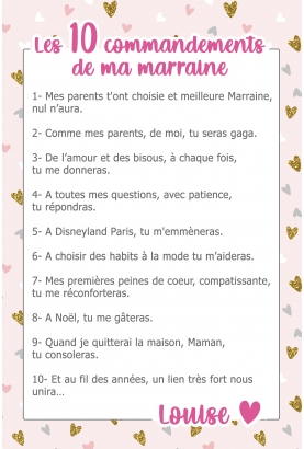 Les 10 commandements de ma marraine. cadeau marraine. commandements marraine.