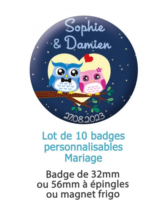 badges mariage couple. badge mariage personnalisé. badge hiboux. badge original mariage. badge couple hiboux.