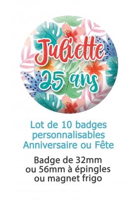 badge anniversaire. badges fete. badges feuilles colorées. badges personnalisé 20. badges 30 ans