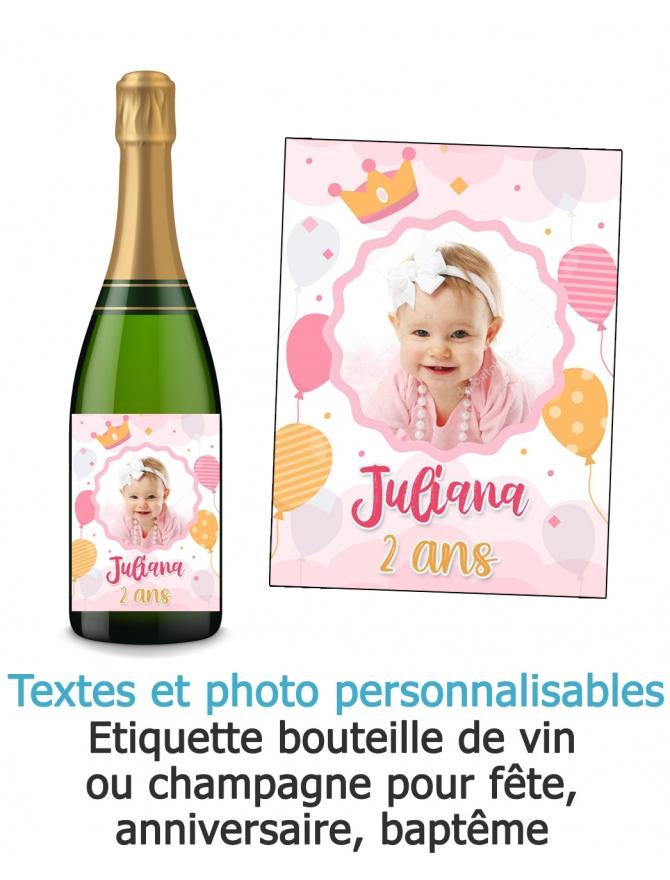 etiquette baptême fille. étiquette photo. etiquette anniversaire fille. etiquette bouteille vin fille