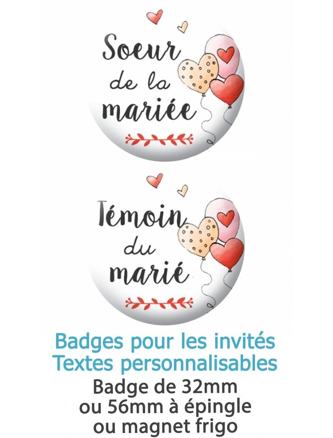 Badge pour les proches des mariés personnalisables. badges mariage. badges personnalisé mariage