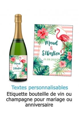 Etiquette bouteille de vin ou champagne pour mariage. étiquette anniversaire. etiquette tropical. etiquette personnalisé.