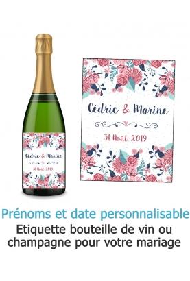 Etiquette bouteille de vin ou champagne pour mariage. étiquette anniversaire. etiquette champetre. etiquette personnalisé.