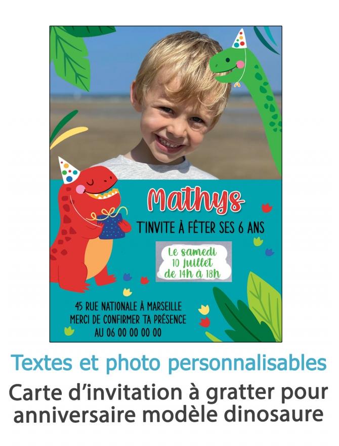 carte invitation. carte baptême. carte anniversaire enfant. carte fête. anniversaire dinosaure. carte invitation gratter.