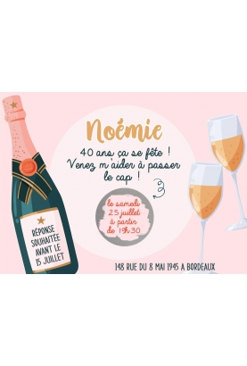 Carte d'invitation anniversaire. carte gratter fête. carte gratter champagne. invitation originale. invitation anniversaire.