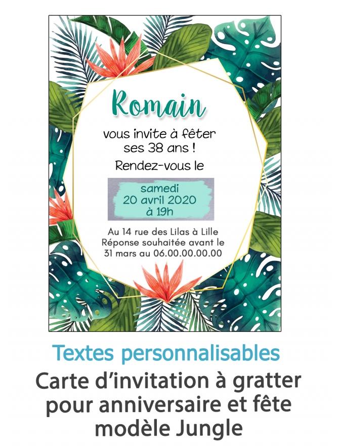 Carte d'invitation anniversaire à gratter adulte - jungle. carte invitation. invitation mariage