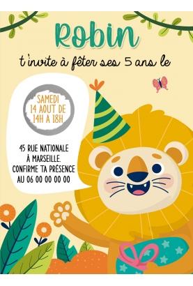 carte invitation. carte baptême. carte anniversaire enfant. carte tigre. anniversaire tigre. carte invitation gratter.