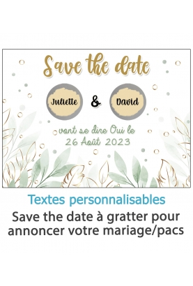 Save the date à gratter pour annoncer votre mariage ou pacs. annonce mariage. annonce pacs. save date prenom découvrir