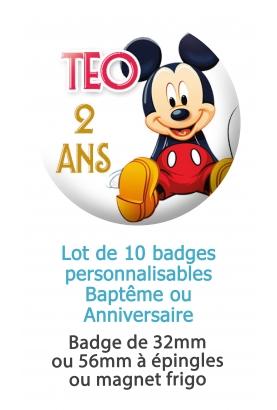 badge anniversaire. badges personnalisé Mickey. badges fêtes. badges anniversaire enfant. badge fête enfant Mickey