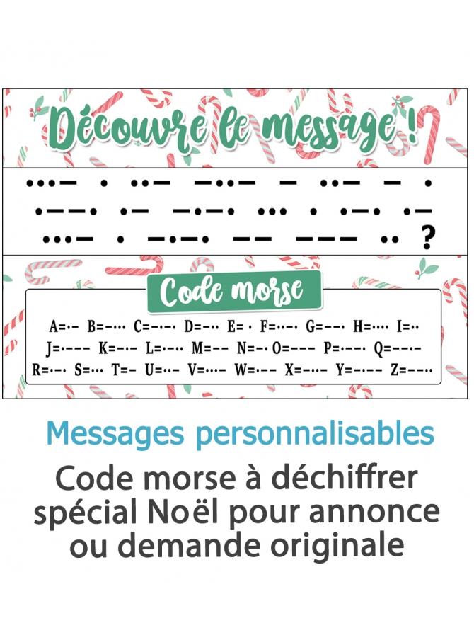 Découvre le message - code morse spécial noël personnalisable - pour annonce ou demande originale