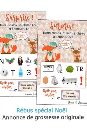 Rébus à déchiffrer spécial Noël pour annonce ou demande originale. annonce grossesse originale