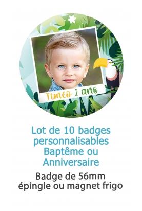 10 badges avec photo pour bapteme ou anniversaire - tropical. badge bapteme personnalisé. badge anniversaire personnalisé