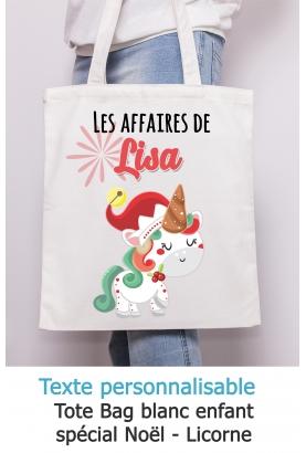 Tote bag enfant Noël Licorne à personnaliser. sac noel enfant. sac noel personnalisé
