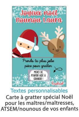 """Carte à gratter """"Joyeux Noël"""" pour maîtresse, nounou, ATSEM etc. cadeau noel maitresse. caeau original maitre"""