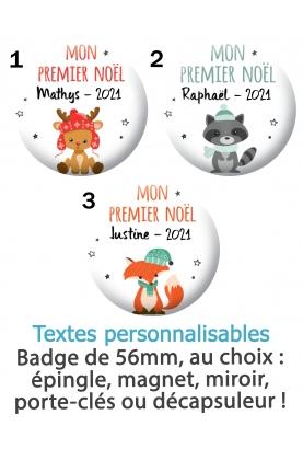 """Badge 56mm """"Mon premier noël"""" personnalisable. badge noel personnaliser. badge fete noel. badge prénom noel"""