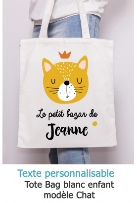 Tote bag enfant chat à personnaliser. tote bag garçon. tote bag personnalisé. tote bag fille. sac enfant personnalisé