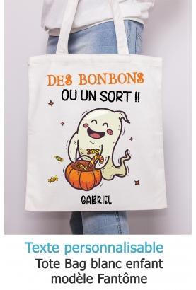 Tote bag enfant pour Halloween modèle fantome - à personnaliser. tote bag Halloween . sac bonbon Halloween