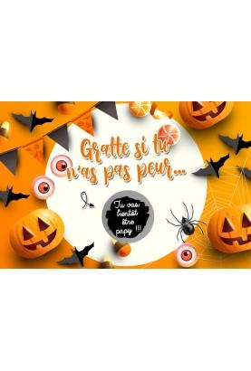 "Carte à gratter Halloween ""Gratte si tu n'as pas peur..."" à personnaliser. carte annonce Halloween . carte Halloween"