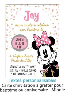 carte invitation. carte bapteme. carte anniversaire enfant. carte minnie. anniversaire minnie. carte invitation gratter