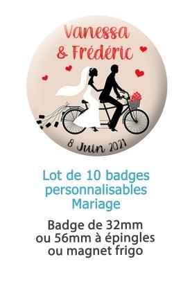 Badges personnalisés mariage vélo - 10 badges à épingle ou magnet frigo