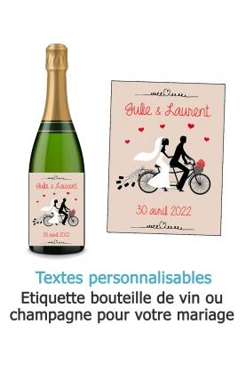 Etiquette bouteille de vin ou champagne pour votre mariage - vélo. etiquette mariage