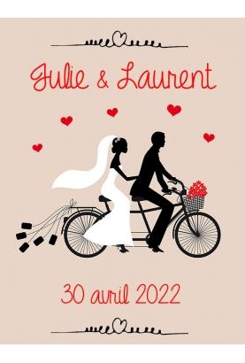Etiquette bouteille de vin ou champagne pour votre mariage - vélo. etiquette mariage. etiquette bouteille mariage